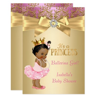 ethnic princess tutu pink gold baby shower card | zazzle, Baby shower invitations
