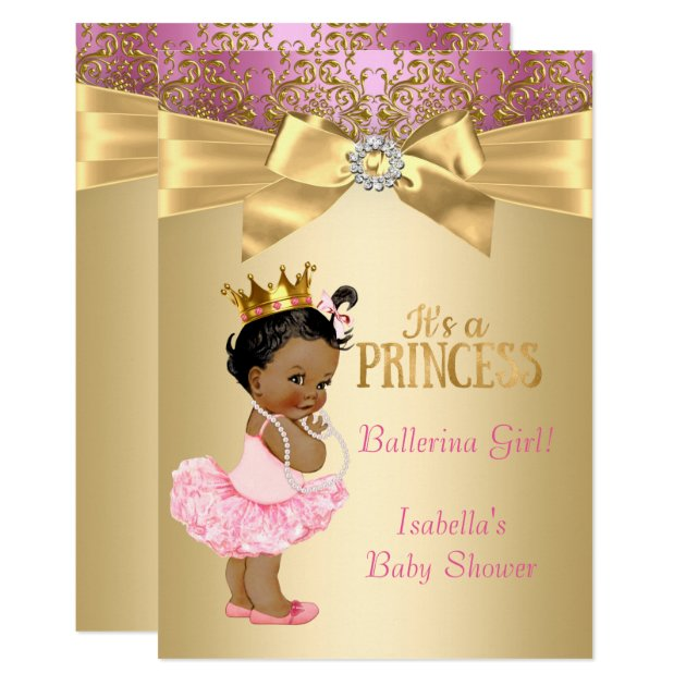 princess baby shower pink gold ballerina ethnic card | zazzle, Baby shower invitations
