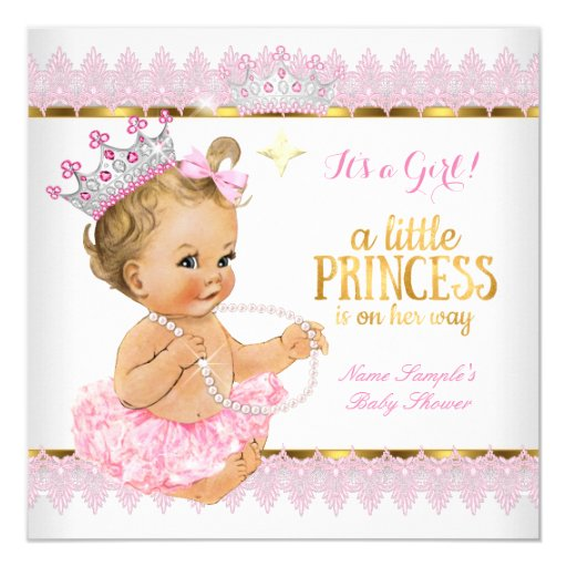 Princess Baby Shower Pink Gold Blonde Girl Card Zazzle