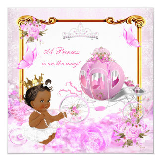 Princess Baby Shower Pink Gold Carriage Ethnic Card