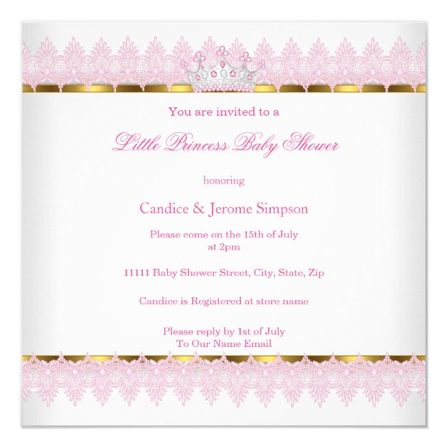 princess baby shower pink gold ethnic girl card   zazzle, Baby shower invitations