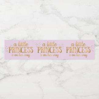Princess Baby Shower Pink Gold Foil Girl Water Bottle Label