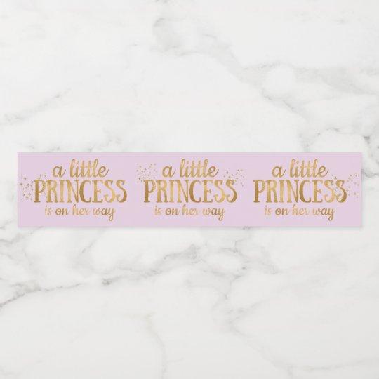 Princess Baby Shower Pink Gold Foil Girl Water Bottle Label Zazzle Com