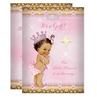 Princess Baby Shower Pink Gold Lace Tiara Brunette Card