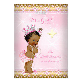 Princess Baby Shower Pink Gold Lace Tiara Ethnic 4.5x6.25 Paper Invitation Card