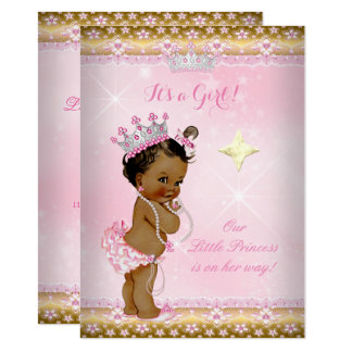 Princess Baby Shower Pink Gold Lace Tiara Ethnic Card