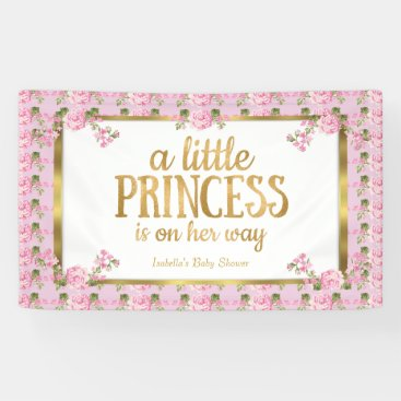 Toddler & Baby themed Princess Baby Shower Pink Gold Rose Floral Banner