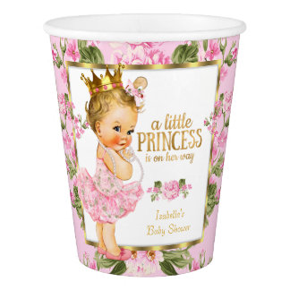 Princess Baby Shower Pink Gold Rose Floral Blonde Paper Cup
