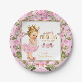 Princess Baby Shower Pink Gold Rose Floral Blonde Paper Plate