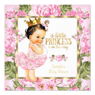 Princess Baby Shower Pink Gold Rose Floral Card