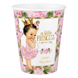 Princess Baby Shower Pink Gold Rose Floral Paper Cup