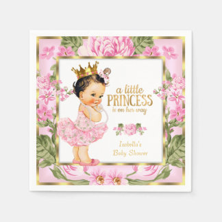 Princess Baby Shower Pink Gold Rose Floral Paper Napkin
