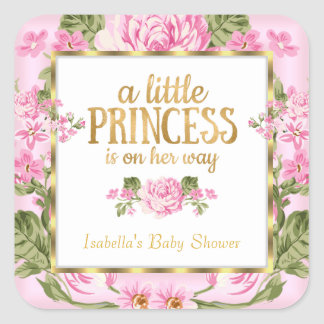 Princess Baby Shower Pink Gold Rose Floral Sticker