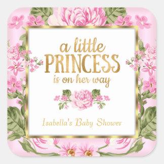 Princess Baby Shower Pink Gold Rose Floral Sticker