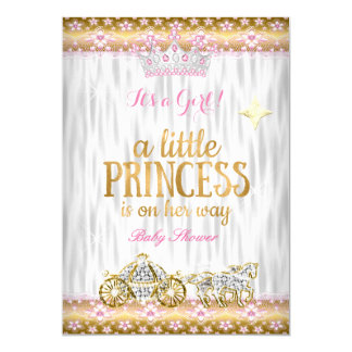Princess Baby Shower Pink Gold White Carriage Card
