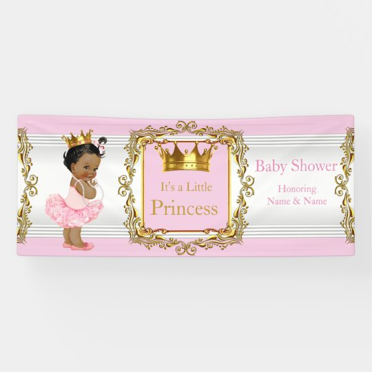princess baby shower pink gold white ethnic banner | zazzle, Baby shower invitations