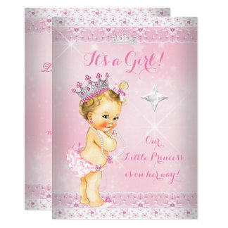 Princess Baby Shower Pink Lace Tiara Blonde Card