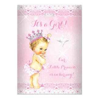 Princess Baby Shower Pink Lace Tiara Blonde Card