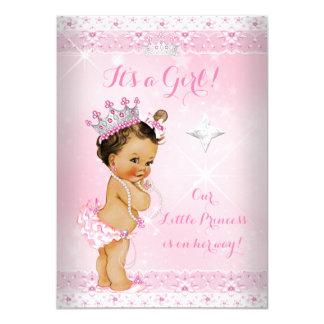 Princess Baby Shower Pink Lace Tiara Brunette Card