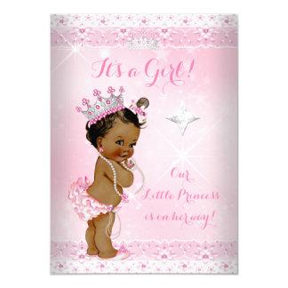 Princess Baby Shower Pink Lace Tiara Ethnic Card