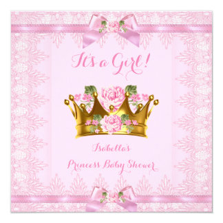 Princess Baby Shower Pink Rose Lace Bow Card