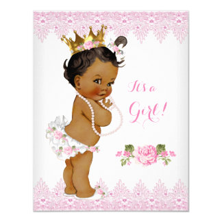 Princess Baby Shower Pink Rose Lace White Ethnic Card