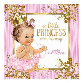 Princess Baby Shower Pink Silk Floral Brunette Card