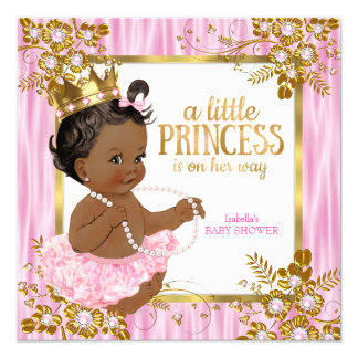 Princess Baby Shower Pink Silk Floral Ethnic Card