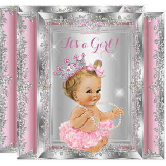 Princess Baby Shower Pink Silver Tutu Blonde Card