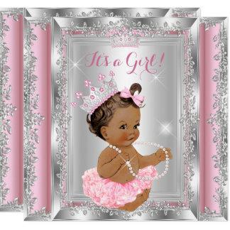 Princess Baby Shower Pink Silver Tutu Brunette 2 Card