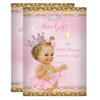Princess Baby Shower Pink Tutu Gold Tiara Blonde Card