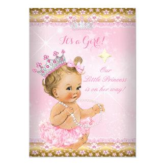 Princess Baby Shower Pink Tutu Gold Tiara Blonde Card