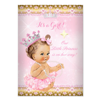 Princess Baby Shower Pink Tutu Gold Tiara Brunette 5x7 Paper Invitation Card