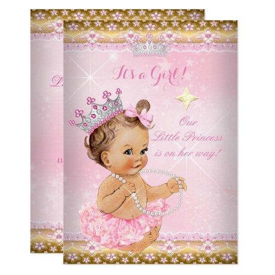 princess baby shower pink tutu gold tiara brunette card zazzle