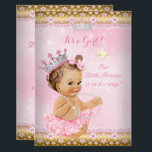 "Princess Baby Shower Pink Tutu Gold Tiara Brunette Invitation<br><div class=""desc"">Princess Girl Baby Shower, Gold and Pink ballerina Tutu, Lace and silver Silver Tiara , lace for a baby girl. Light Pink and white lace silver and gold stars glitter sparkle glow. Pretty adorable new baby, vintage, couples baby shower. Cute Sprinkle Baby Shower. Brunette Baby Shower. Please note: not real...</div>"