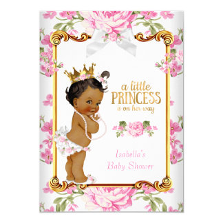 Princess Baby Shower Pink White Floral Ethnic 2 Card