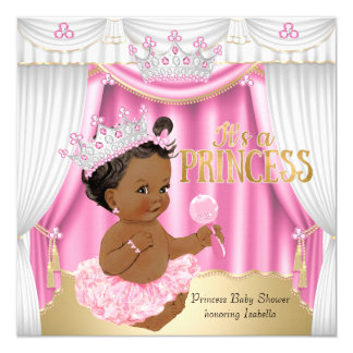 Princess Baby Shower Pink White Gem Gold Ethnic Card