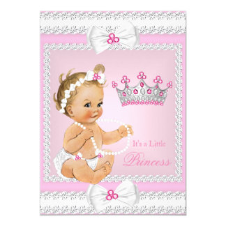Princess Baby Shower Pink White Pearls Bows Blonde Card