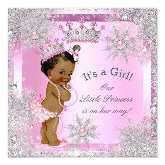 Princess Baby Shower Pink Winter Wonderland Ethnic Card