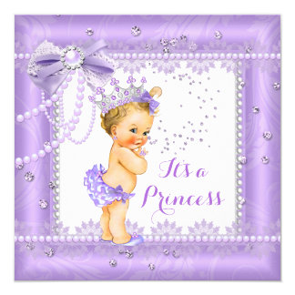 Princess Baby Shower Purple bow Lace Gem Blonde Card