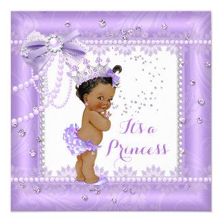Princess Baby Shower Purple bow Lace Gem Ethnic Card