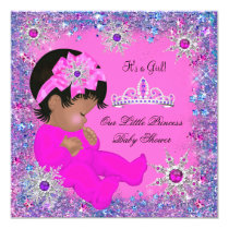 Princess Baby Shower Purple Pink Glitter Ethnic Card