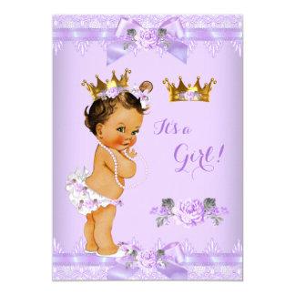Princess Baby Shower Purple Rose Lace Brunette Card