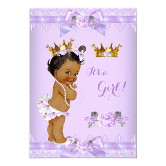Princess Baby Shower Purple Rose Lace Ethnic Card