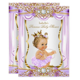 Princess Baby Shower Purple Silk Gold Blonde Card