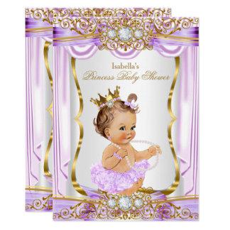 Princess Baby Shower Purple Silk Gold Brunette 2 Card