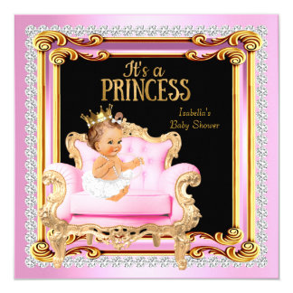 Princess Baby Shower Silver Pink Gold Chair Card