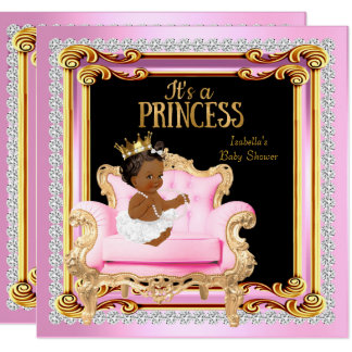 Princess Baby Shower Silver Pink Gold Chair Ethnic Card