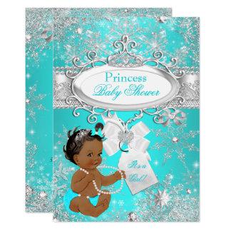 Princess Baby Shower Snowflakes Aqua Ethnic Card