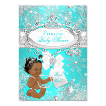 Princess Baby Shower Snowflakes Aqua Ethnic Card